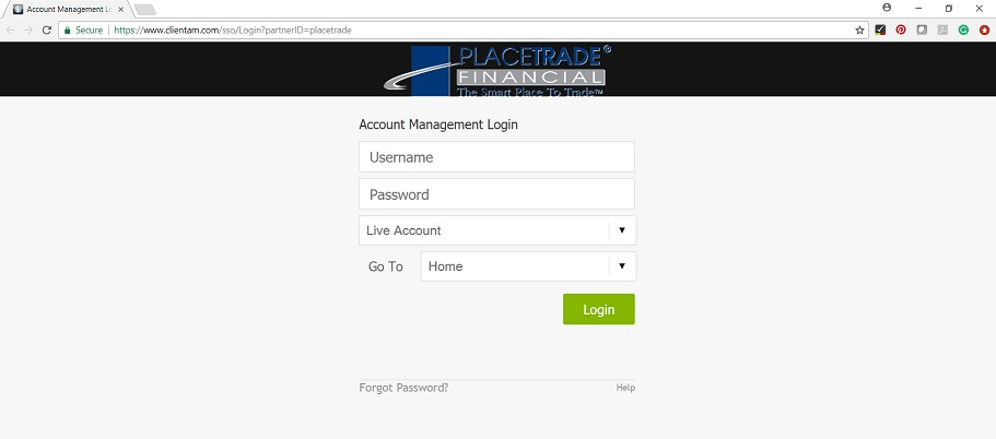 Account Management Login Screen